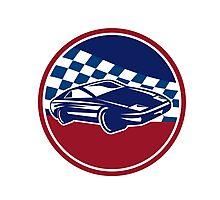 Sports Car Racing Chequered Flag Circle Retro Photographic Print