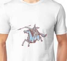 Valkyrie Warrior Riding Horse Spear Etching Unisex T-Shirt