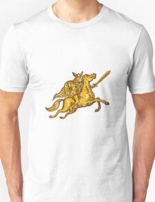 Valkyrie Warrior Riding Horse Sword Etching Unisex T-Shirt