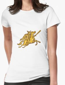Valkyrie Warrior Riding Horse Sword Etching Womens Fitted T-Shirt