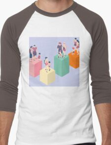 Isometric Infographic Family Types - LGBT included Men's Baseball ¾ T-Shirt