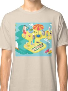 Isometric Beach Life - Summer Holidays Concept  Classic T-Shirt