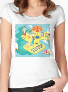 Isometric Beach Life - Summer Holidays Concept  Women's Fitted Scoop T-Shirt