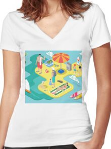 Isometric Beach Life - Summer Holidays Concept  Women's Fitted V-Neck T-Shirt