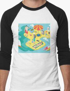 Isometric Beach Life - Summer Holidays Concept  Men's Baseball ¾ T-Shirt