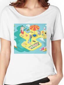 Isometric Beach Life - Summer Holidays Concept  Women's Relaxed Fit T-Shirt
