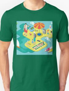 Isometric Beach Life - Summer Holidays Concept  Unisex T-Shirt
