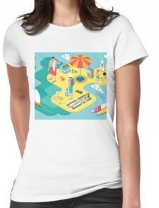Isometric Beach Life - Summer Holidays Concept  Womens Fitted T-Shirt