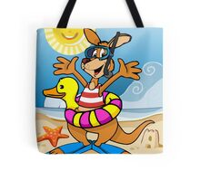 Happy Kangaroo Cartoon on the Beach Tote Bag