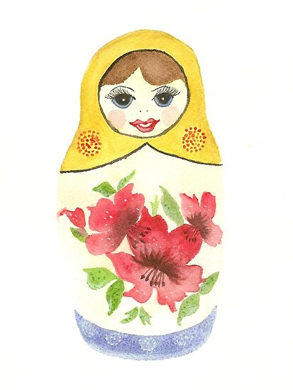 Russian Doll With Red Flowers by Courtney Carlson