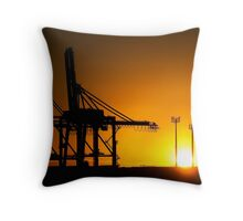 Monster Cranes at Sunrise Throw Pillow