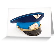 USSR Airforce officer cap with badges Greeting Card