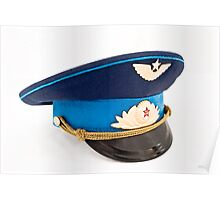 USSR Airforce officer cap with badges Poster