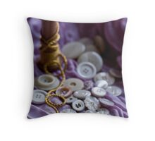Buttons and Golden Thread Throw Pillow