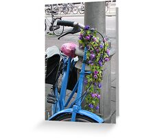 Flowered bicycle in blue Greeting Card