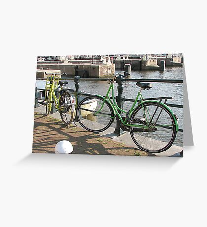 Bicycles in green Greeting Card