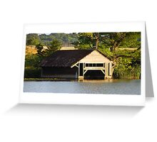 Sunset Boathouse Greeting Card