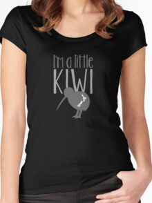 I'm a little kiwi in grey with New Zealand bird Women's Fitted Scoop T-Shirt
