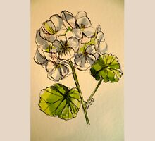 White pelargonium. Pen and wash on paper. Womens Fitted T-Shirt