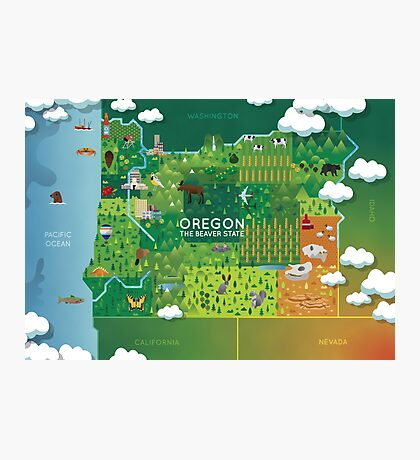 Oregon Map Photographic Print