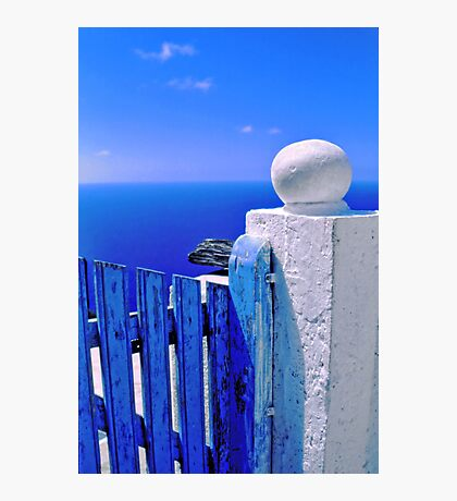Greek blue gate with wandering clouds Photographic Print