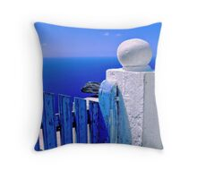 Greek blue gate with wandering clouds Throw Pillow