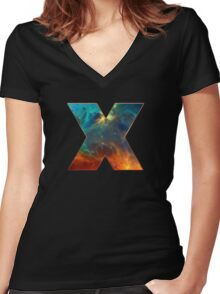 X, Space, Universe, Galaxy, Cosmos Women's Fitted V-Neck T-Shirt