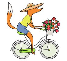 fox on a bike by RonAleksandra