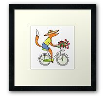 fox on a bike Framed Print