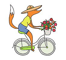 fox on a bike Photographic Print