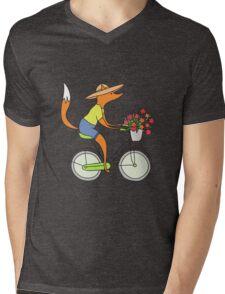 fox on a bike Mens V-Neck T-Shirt