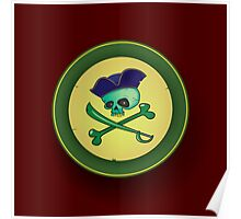green pirate skull Poster