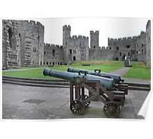 Old cannons at Caernarfon Castle  North Wales Poster