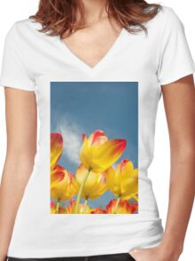 Yellow and Pink Tulips Women's Fitted V-Neck T-Shirt
