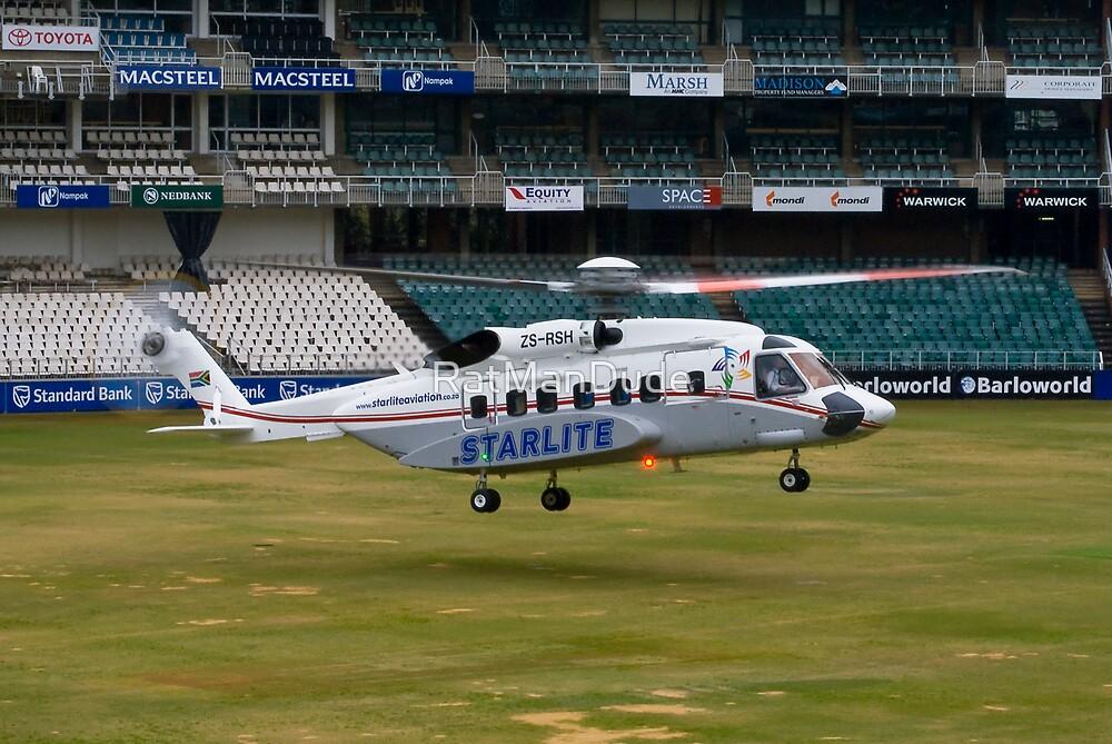 Sikorsky S-92 Landing at The Wanderers Cricket Stadium by RatManDude