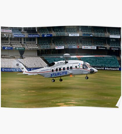 Sikorsky S-92 Landing at The Wanderers Cricket Stadium Poster