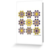 Yellow and Blue Foot Flowers Greeting Card