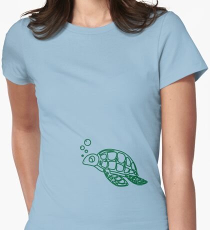 Bubble's The turtle Womens Fitted T-Shirt