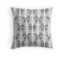 Helo - modern pattern design gift for college dorm decor trendy monochromatic grey neutral bold Throw Pillow