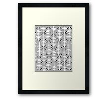 Helo - modern pattern design gift for college dorm decor trendy monochromatic grey neutral bold Framed Print