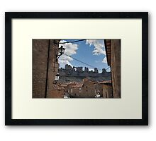 2 camels kissing and the map of africa between both Framed Print