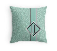 1920s Blue Deco Swing with Monogram letter U Throw Pillow