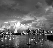 Silence Before The Storm ( B&W) - Photographers Cut - Moods of A City , Sydney - The HDR Experience by Philip Johnson
