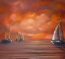 Red Sunset Yachting by Cherie Roe Dirksen