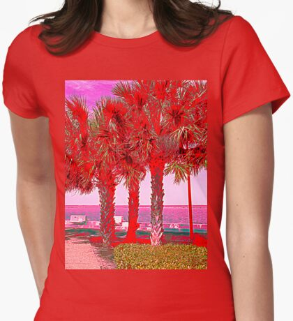 Palm Trees in Red Womens Fitted T-Shirt