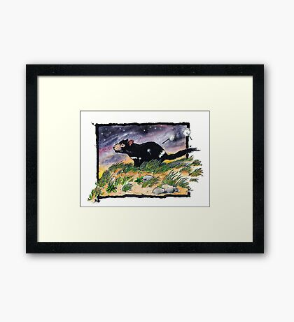 Tasmainan devil on a windy night Framed Print