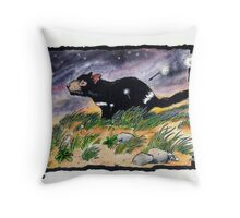 Tasmainan devil on a windy night Throw Pillow