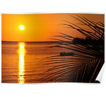 Negril Sunset with palm Poster