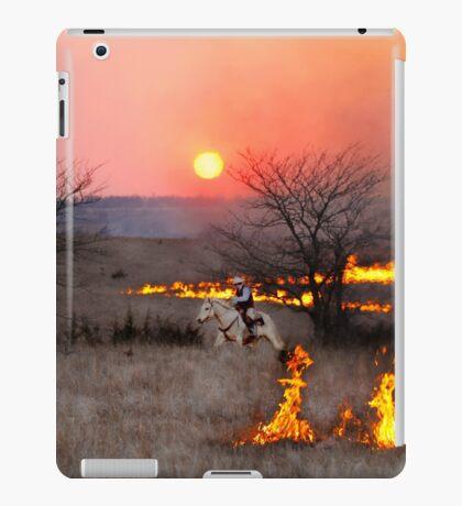 Kansas Rancher Checks Fire Line iPad Case/Skin