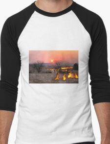 Kansas Rancher Checks Fire Line Men's Baseball ¾ T-Shirt